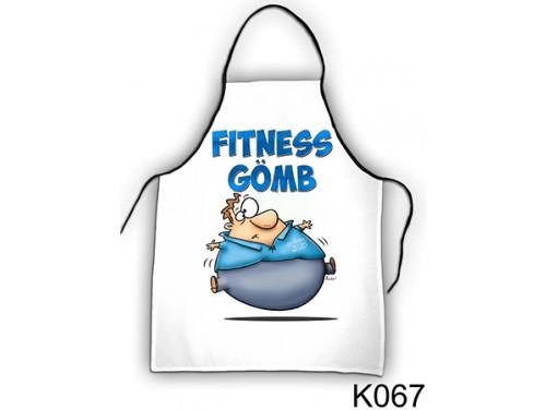 (K067) Kötény 50 cm x 70 cm - Fitness gömb – Ajándék Fogyókúrázóknak