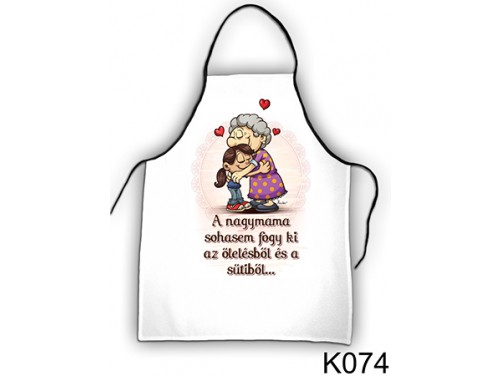 (K074) Kötény 50 cm x 70 cm - A nagymama sohasem – Ajándék Nagymamának