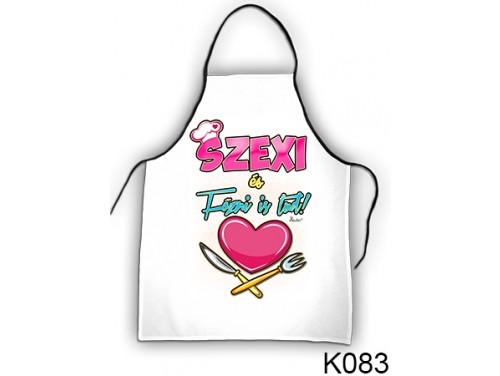 (K083) Kötény 50 cm x 70 cm - Szexi és főzni is tud – Vicces Ajándékok