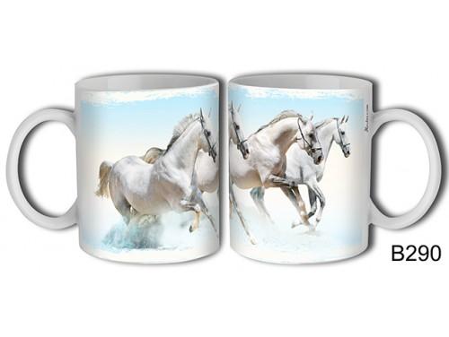 (B290) Bögre 3 dl - Fehér lovak - Lovas ajándékok