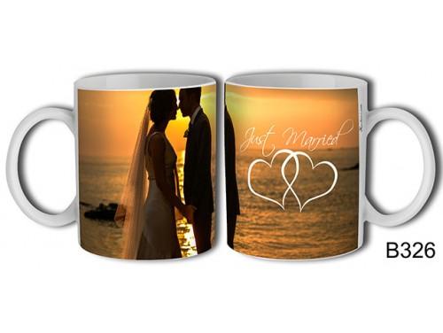 (B326) Bögre 3 dl - Just Married Naplementés - Ajándék Esküvőre