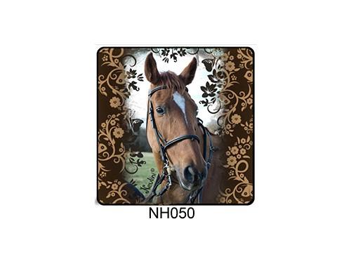 (NH050) Hűtőmágnes 7,5 cm x 7,5 cm - Virágos ló - Lovas ajándékok
