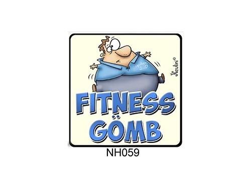 (NH059) Hűtőmágnes 7,5 cm x 7,5 cm - Fitness Gömb - Ajándék Fogyókúrázóknak
