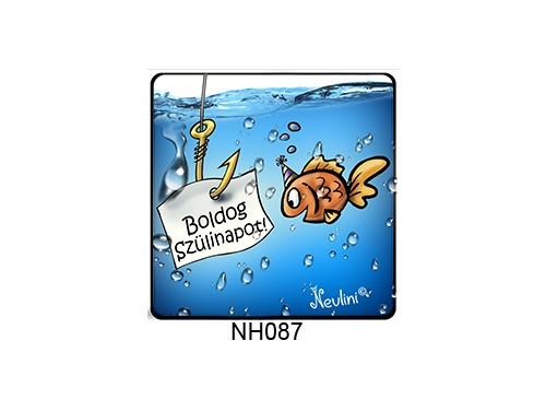 (NH087) Hűtőmágnes 7,5 cm x 7,5 cm - Boldog Szülinapot halacska - Szülinapi Ajándékok