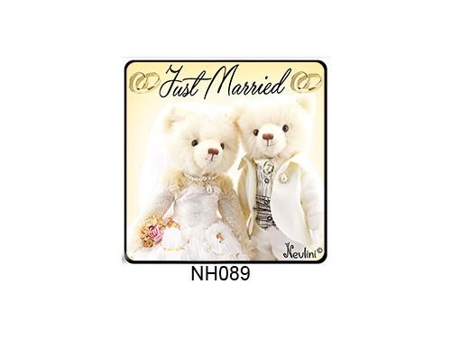 (NH089) Hűtőmágnes 7,5 cm x 7,5 cm - Just Married - Ajándék Esküvőre