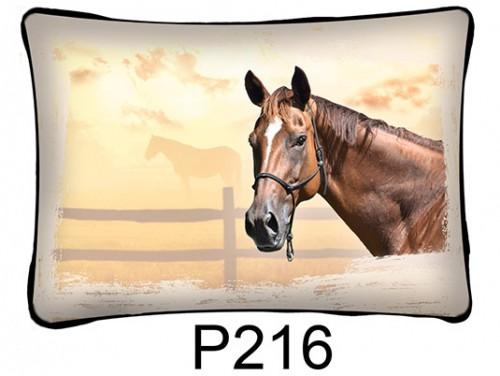 (P216) Párna 37 cm x 27 cm - Barna ló fej - Lovas ajándékok