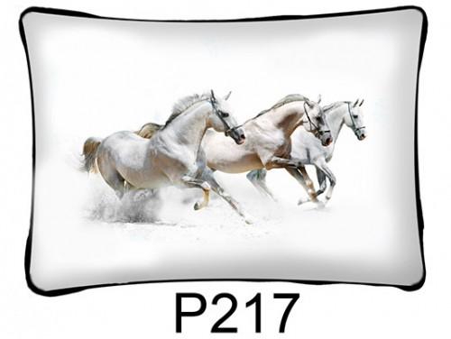 (P217) Párna 37 cm x 27 cm - Fehér lovak - Lovas ajándékok