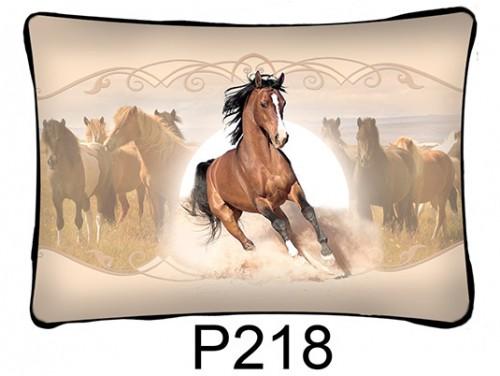 (P218) Párna 37 cm x 27 cm - Futó barna ló - Lovas ajándékok