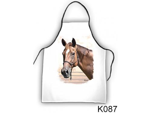 (K087) Kötény 50 cm x 70 cm - Barna ló fej – Lovas Ajándékok