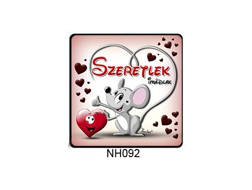 (NH092) Hűtőmágnes 7,5 cm x 7,5 cm - Egérke szeretlek - Szerelmes Ajándékok