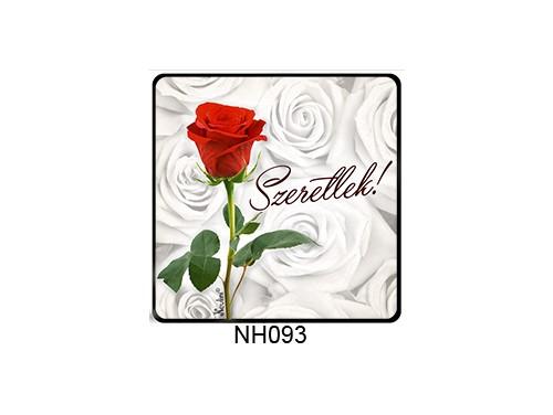 (NH093) Hűtőmágnes 7,5 cm x 7,5 cm - Rózsás szeretlek - Szerelmes Ajándékok