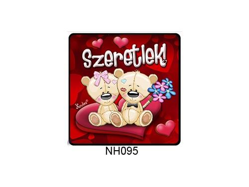 (NH095) Hűtőmágnes 7,5 cm x 7,5 cm - Macikák szeretlek - Szerelmes Ajándékok