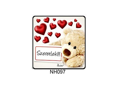 (NH097) Hűtőmágnes 7,5 cm x 7,5 cm - Táblás maci szeretlek - Szerelmes Ajándékok