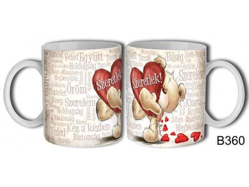 (B360) Bögre 3 dl - Szeretlek szavakkal – Szerelemes bögre – Szerelmes pároknak ajándék