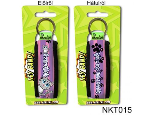 (NKT015) Kulcstartó 10 cm x 3,8 cm - Szeretlek Egész nap Veled lennék cicás - Szerelmes Ajándékok