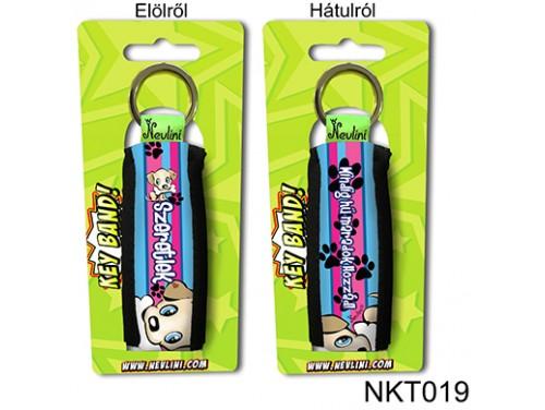(NKT019) Kulcstartó 10 cm x 3,8 cm - Szeretlek Kiskutyás pink és kék színű - Szerelmes Ajándékok