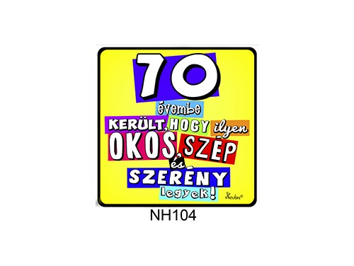 (NH104) Hűtőmágnes 7,5 cm x 7,5 cm - 70 évembe került... - 70. Szülinapi Ajándékok