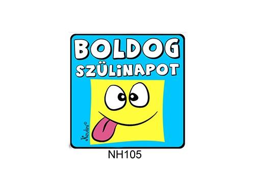 (NH105) Hűtőmágnes 7,5 cm x 7,5 cm - Boldog Szülinapot kék - Szülinapi Ajándékok