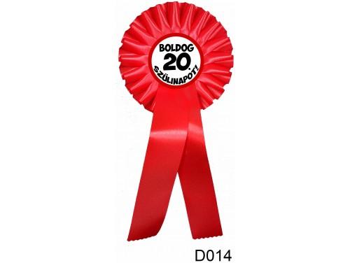 (D014) Díjszalag 11,3 cm x 26 cm – Boldog 20. Szülinapot! – Születésnapi ajándék