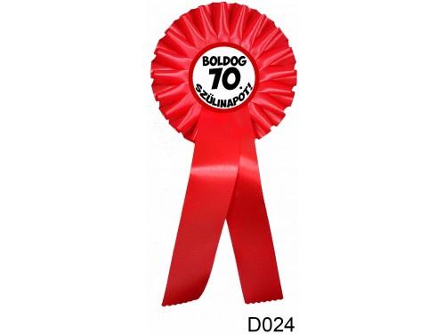 (D024) Díjszalag 11,3 cm x 26 cm – Boldog 70. Szülinapot! – Születésnapi ajándék