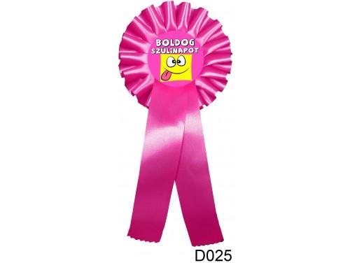(D025) Díjszalag 11,3 cm x 26 cm – Boldog Szülinapot nyelvnyújtós pink – Születésnapi ajándék