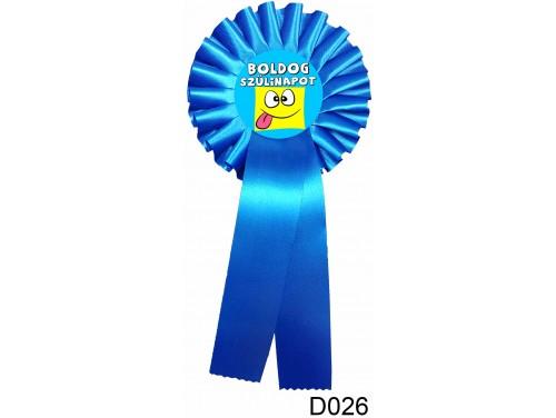 (D026) Díjszalag 11,3 cm x 26 cm – Boldog Szülinapot nyelvnyújtós kék – Születésnapi ajándék