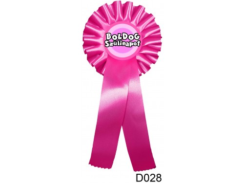 (D028) Díjszalag 11,3 cm x 26 cm – Boldog Szülinapot pink – Születésnapi ajándék