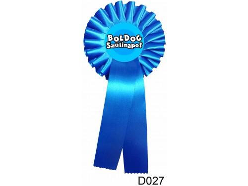 (D027) Díjszalag 11,3 cm x 26 cm – Boldog Szülinapot kék – Születésnapi ajándék