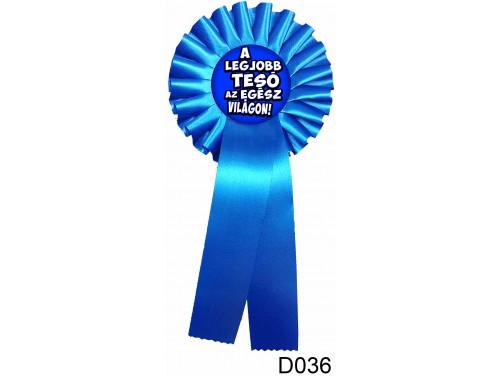 (D036) Díjszalag 11,3 cm x 26 cm - A legjobb tesó... kék – Ajándékok Testvérnek