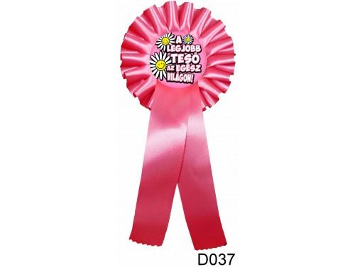 (D037) Díjszalag 11,3 cm x 26 cm - A legjobb tesó... pink – Ajándékok Testvérnek