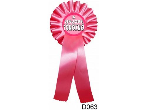 (D063) Díjszalag 11,3 cm x 26 cm - A legjobb főnöknő – Ajándék Főnökasszonynak