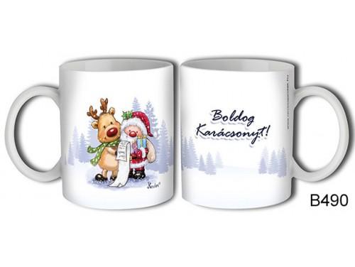 (B490) Bögre 3 dl - Mikulás és szarvas – Karácsonyi ajándék