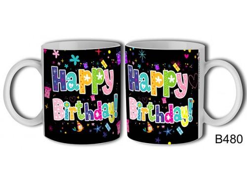 (B480) Bögre 3 dl - Happy Birthday! madárkás – Születésnapi bögre – Születésnapi ajándék