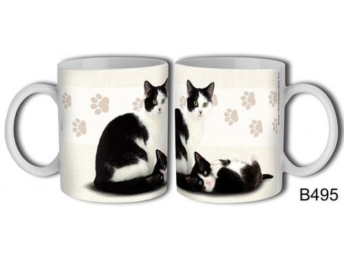 (B495) Bögre 3 dl - Fekete-fehér macska – Macskás Ajándékok