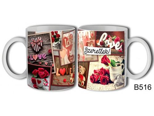 (B516) Bögre 3 dl - Love, love, love – Szerelemes bögre – Szerelmes pároknak ajándék