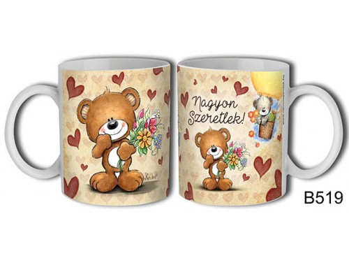 (B519) Bögre 3 dl - Nagyon szeretlek barna maci – Szerelmes pároknak ajándék