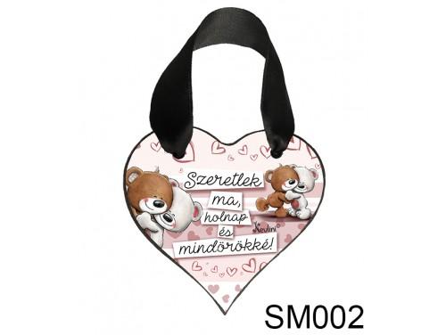 (SM002) Szív Akasztóval 9 cm x 9,5 cm - Szeretlek ma – Szerelmes Ajándékok - Valentin napi ajándékok
