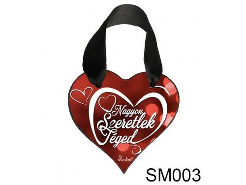 (SM003) Szív Akasztóval 9 cm x 9,5 cm - Nagyon szeretlek Téged – Szerelmes Ajándékok - Valentin napi ajándékok