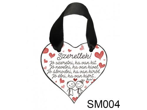 (SM004) Szív Akasztóval 9 cm x 9,5 cm - Jó szeretni – Szerelmes Ajándékok - Valentin Napi Ajándékok
