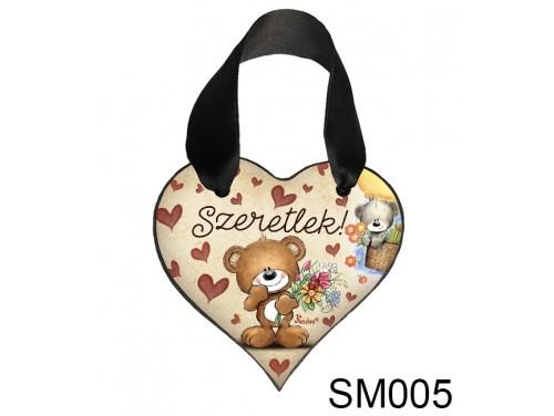 (SM005) Szív akasztóval 9 cm x 9,5 cm - Szeretlek macis – Szerelmes Ajándékok