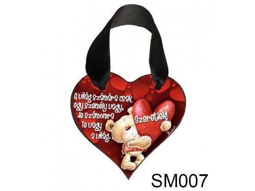 (SM007) Szív Akasztóval 9 cm x 9,5 cm - A világ számára – Szerelmes Ajándékok - Valentin napi ajándékok