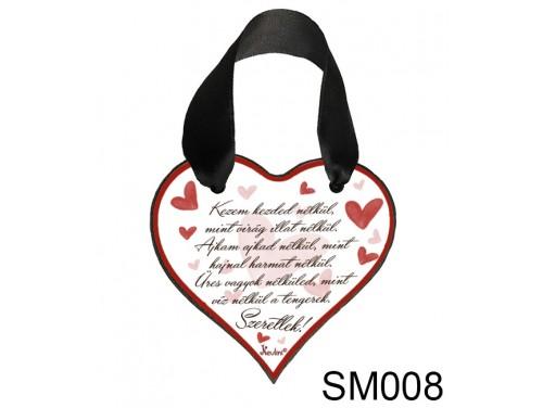(SM008) Szív Akasztóval 9 cm x 9,5 cm - Kezem kezed nélkül – Szerelmes Ajándékok - Valentin napi ajándékok
