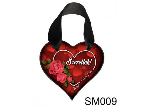 (SM009) Szív Akasztóval 9 cm x 9,5 cm - Szeretlek Love You – Szerelmes Ajándékok - Valentin napi ajándékok