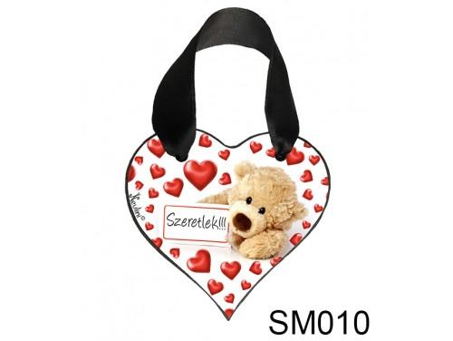 (SM010) Szív akasztóval 9 cm x 9,5 cm - Táblás maci szeretlek – Szerelmes Ajándékok