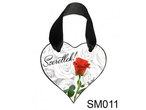 (SM011) Szív Akasztóval 9 cm x 9,5 cm - Rózsás szeretlek – Szerelmes Ajándékok - Valentin napi ajándékok