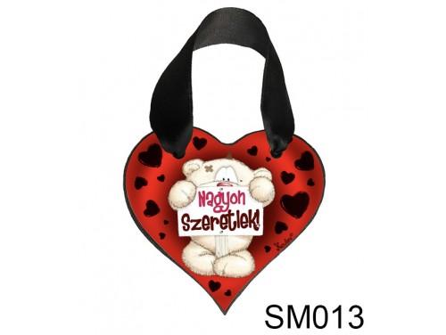 (SM013) Szív Akasztóval 9 cm x 9,5 cm - Nagyon szeretlek Pimi – Szerelmes Ajándékok - Valentin napi ajándékok