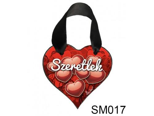 (SM017) Szív Akasztóval 9 cm x 9,5 cm - Komoly szeretlek – Szerelmes Ajándékok - Valentin napi ajándékok