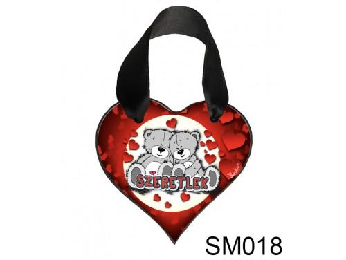 (SM018) Szív akasztóval 9 cm x 9,5 cm - Macipár – Szerelmes Ajándékok