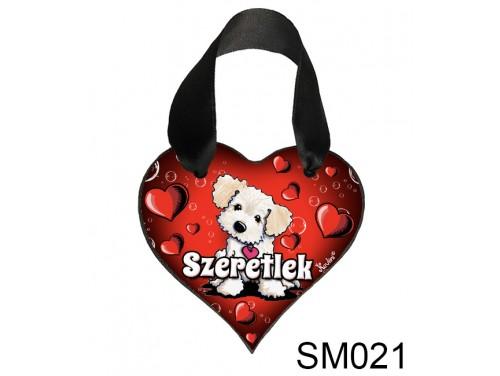 (SM021) Szív akasztóval 9 cm x 9,5 cm - Világos kutya – Szerelmes Ajándékok