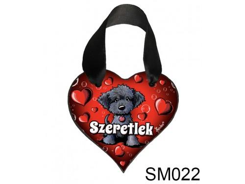 (SM022) Szív akasztóval 9 cm x 9,5 cm - Fekete kutyus – Szerelmes Ajándékok